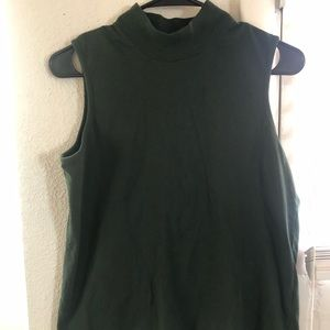 Vintage forest green turtle neck tank top